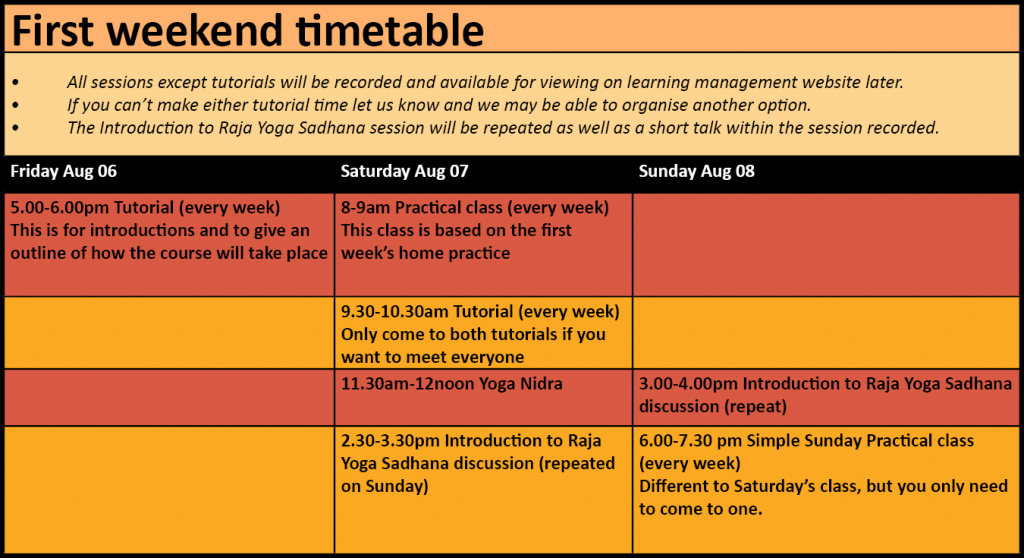 first weekend timetable